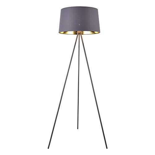 lux.pro Stehleuchte Manchester Stehlampe 3-Fuß-Leuchte Standleuchte 150 cm E27 Metall-Stoff Grau-Gold