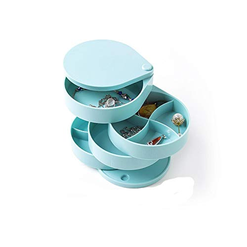 Caja de almacenamiento giratoria para joyas, collar y pendientes, estilo europeo, caja de almacenamiento de estilo rojo