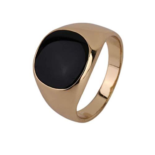 FENGMEI Anillo de Oro del Metal del Acero Inoxidable Nunca se descolora 18K Negro Onyx Piedra Compromiso de la Boda del Anillo de galvanoplastia Pulido