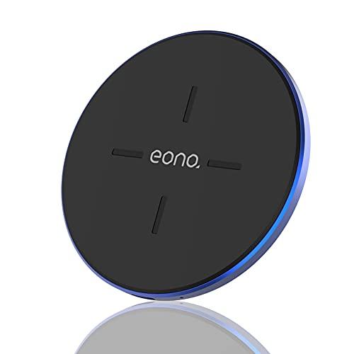 Amazon Brand - Eono Cargador inalámbrico Rápido, C1 Cargadores por inducción Qi-Certificado 15W MAX Compatible con iPhone 12/12 Mini/12 Pro/12 Pro MAX, Galaxy S20/20+/20 Ultra, AirPods Pro(Azul)