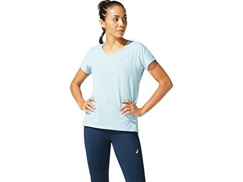 ASICS Camiseta de manga corta con cuello en V para mujer - azul - M