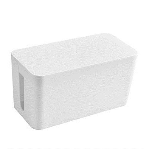 Vobajf Caja para Cables Caja de alimentación del Cable de alimentación de la Caja del Ordenador del Escritorio de plástico Grande de Gran tamaño Cable Tidy Box (Color : White, Size : 23.5x11.5x12cm)