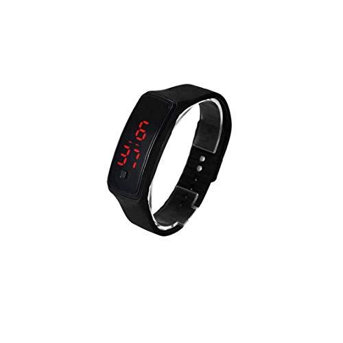 OMMO LEBEINDR El Reloj Unisex del Cuarzo de la Manera Digital Deportes Reloj de Pulsera con Silicona Brazalete - NegroPor Reloj