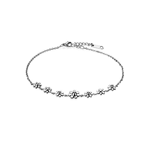 Oidea Assorted Stainless Steel Daisy Flowers Charm Brackelet Anklet,Size Adjustable for Women Girls Birthday Gift, with Gift Bag