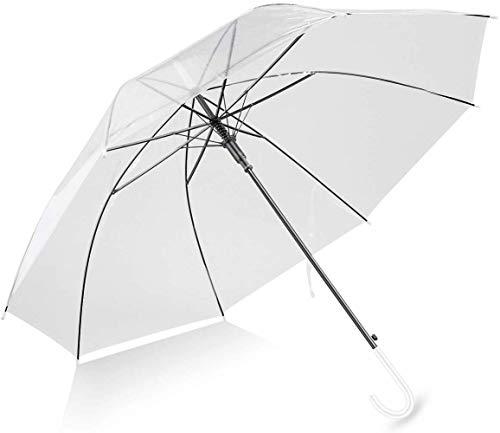 Fablcrew Ombrello trasparente completamente automatico Ombrello grande 85 cm bianco trasparente ombrello matrimonio con manico a C bianco