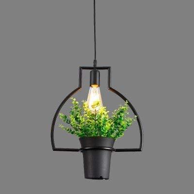 Hanglamp ijzer jeugdstijl van de industrie enkele kleine kroonluchter Scandinavische stijl minimalistisch eenvoudige restaurants hangende kroonluchter creatieve bloempotten planten persoonlijkheid