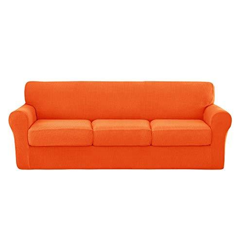 NUELLO Fundas de sofá elásticas de 4 Piezas, Fundas de sofá Fundas para Muebles (Funda de Base más 3 Fundas de cojín Individuales) Tela Jacquard más Gruesa Lavable-E-Large
