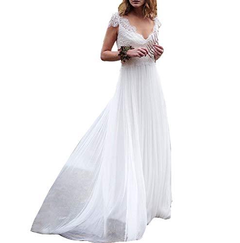 SIQINZHENG A Line Women's Chiffon Wedding Dress Double V-Neck Evening Gowns White