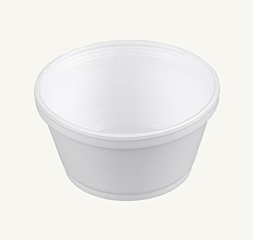 Dart 8SJ20, 8-Ounce Customizable White Foam Cold and Hot Food Container with Translucent Vented Lid, Dessert Ice-Cream Yogurt Cups, Deli Food Containers with Matching Covers (50)