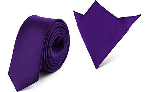 Ladeheid Set de Corbata Estrecha y Pañuelo Hombre SP/P (150cm x 5cm, 22cm x 22cm, Violeta Oscuro)