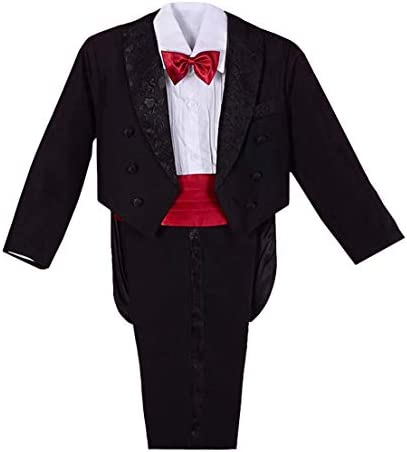 Dressy Daisy Baby Boys Classic Tuxedo w Tail 5 Pcs Set Formal Suits Wedding Outfit Size 18 24 product image