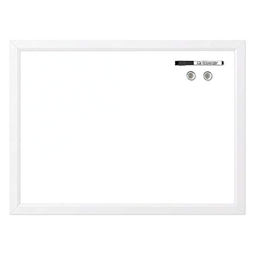 "Quartet Magnetic Whiteboard, 17"" x 23"" Small White Board for Wall, Dry Erase Board for Kids, Perfect for Home Office & Home School Supplies, Dry Erase Marker, Magnets, White Frame (MWDW1723M-WT)"