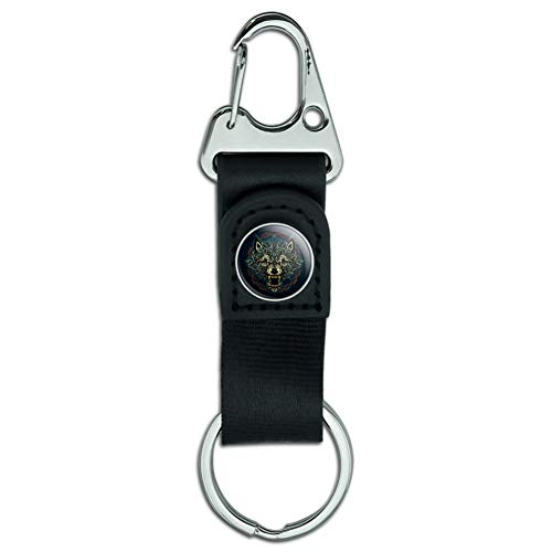 Fenrir Fierce Snarling Wolf in Chains Norse Mythology Keychain with Leather Fabric Belt Clip-On Carabiner