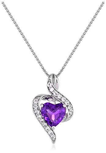 """Sterling Silver Genuine African Amethyst and White Topaz Wrapped Heart Pendant Necklace, 18"""""""