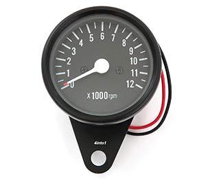 Mini Mechanical Motorcycle Tachometer Tach 12K RPM - Black - 1:4