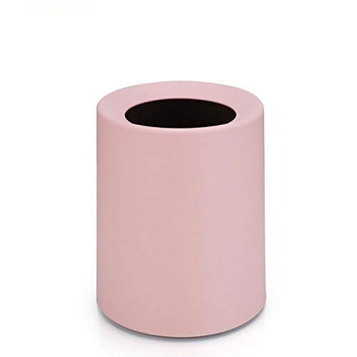Wdonddonljt Mate plástico Bote de Basura Oficina Sala de Estar Cocina Baño de Doble Capa Papelera Papeleras sin Tapa (Color : Pink)