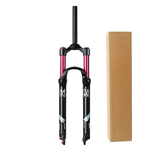 Horquilla MTB 26 27,5 29 Pulgadas Aluminio 1-1/8' Tubo Recto Amortiguador de Bicicleta Horquillas de Aire para Bici Viaje 140mm (Color : A, Size : 26inch)
