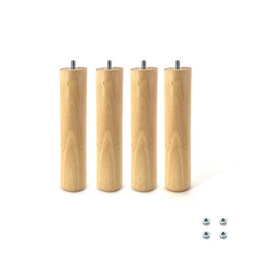 Cortassa - Set 4 Piedi per Rete a Doghe Gambe Letto Universali in Legno di Faggio (32 cm)