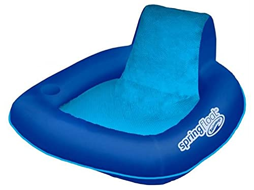 SwimWays Spring Float SunSeat Mesh Floating Inflatable Swimming Pool Lounge Chair in Blue with Comfortable Padded Armrests, Backrests, and Cup Holder