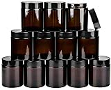Encheng 12Pack of 4 oz Amber Round Glass Jars, with Inner Liners and black Lids,Empty Cosmetic Containers,Cream jars … …