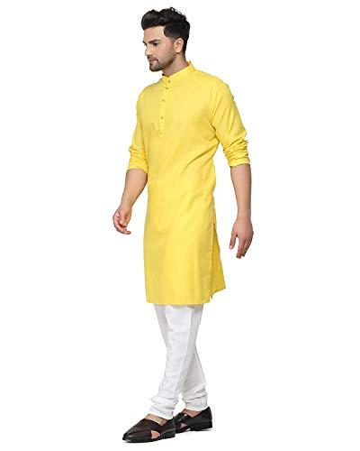 Creative Work Yellow Cotton Plain Men's Ethnic Simple Kurta
