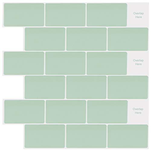 Pegatinas de Baldosas Azulejos adhesivo de Pared 3d Autoadhesivas Azulejos Verde para Cocina y Baño, 30 x 30 cm (10 Piezas)