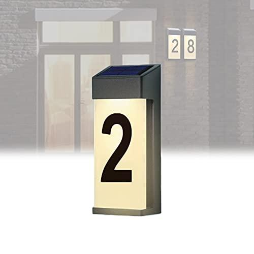 YCRD Lluminación Exterior con Número de Casa, Lámparas Solares LED Placas Dirección Número, Luces Led Solares a Prueba Agua, Adecuadas para Luces Placa, Vallas, Patios, Calles, Parques,2