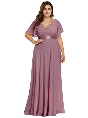 Ever-Pretty Damen Abendkleid A-Linie Lange Partykleid V Ausschnitt Kurze Ärmel Hohe Taille Orchidee 46