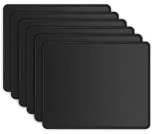 ITNRSIIET 6 Pack Mouse Pad with Stitched Edge, Premium-Textured Square Mouse Mat,Washable Mousepads with Lycra Cloth, Non-Slip Rubber Base Mousepad for Laptop, Computer, PC, 10.2×8.3×0.12 inches Black