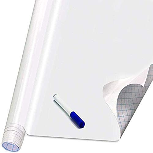 Self Adhesive White Board Paper - Dry Erase Wall Stickers Roll 17.7' x 78.7' Message Board Wallpaper Decal for School/Office/Home/Kid/Art/Decoration