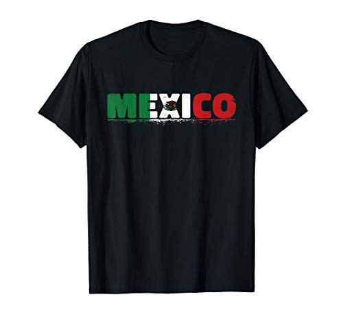 Playera Mexico Bandera Mexicana Desgastada Orgullo Azteca Camiseta