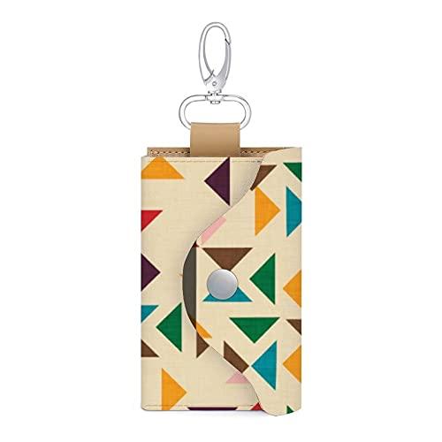 Kilim Triángulo Patrón Beige PU Cuero clave del coche titular de la bolsa de la llave de la cartera bolsa llavero titular para mujeres hombres