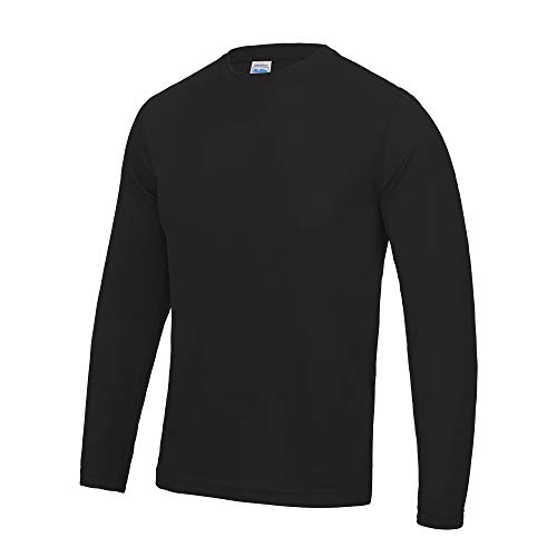Just Cool T-Shirt Sport Performance uni à Manches Longues pour Homme (S) (Noir)