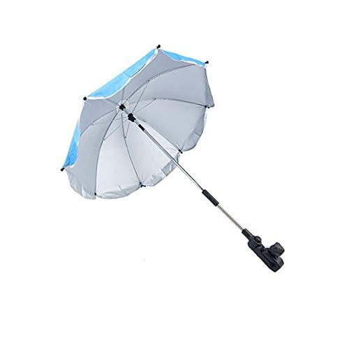 GNSDA Paraguas de Sombra con Abrazadera, con Dispositivo de fijación de Clip de Paraguas, Ideal para sillas de Playa, Bleachers, cochecitos, vagones, sillas de Ruedas o carritos de Golf, Azul