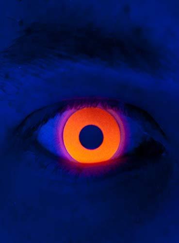 Maskworld - UV aktive Kontaktlinsen / Jahreslinsen - Orange Motivlinsen ohne Sehstärke - Unisex - Erwachsene - ideal für Halloween, Karneval, Motto- und Horror-Party