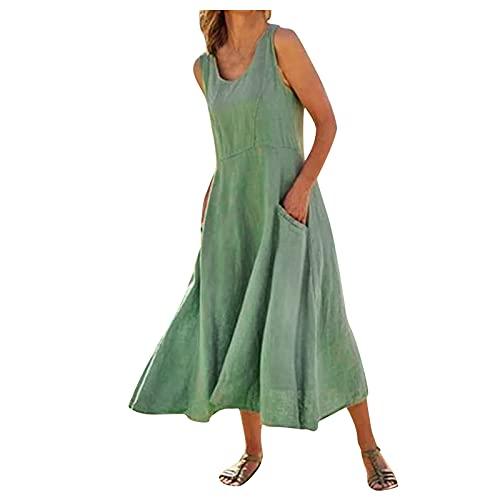 Vestido de lino para mujer, sin tirantes, largo, informal, elegante, hombros descubiertos, cuello en V, monocolor, vestido de playa, línea A, vestido sexy, plisado, de lino, talla grande