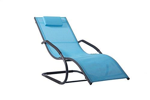 Vivere WAVELNG1-OB Wave Chaise Longue Aluminium Bleu Océan 168 x 61 x 91 cm