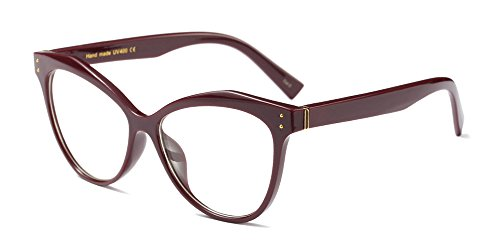 BOZEVON Donna Moda Classico Montatura Occhiali da Vista Occhiali con Lenti Trasparenti Occhio di gatto Festa Occhiali, Rosso