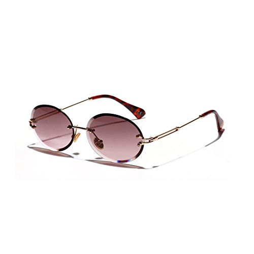 XIAOTANBAIHUO Anteojos Gafas de sol ovaladas vintage talla diamante, gafas con textura de cristal, sin marco, unisex (Color : Morado oscuro)