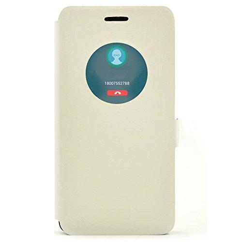『【ECMAX】 ホワイト ASUS ZenFone 5 A500KL ケース カバー 手帳型 PUレザー素材 自動スリープ スタンド機能付き ECMAX正規代理品』の1枚目の画像