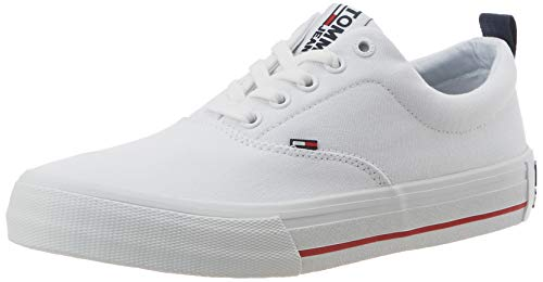 Tommy Hilfiger Classic Low Tommy Jeans Sneaker, Zapatillas para Hombre, Blanco (White Ybs), 42 EU
