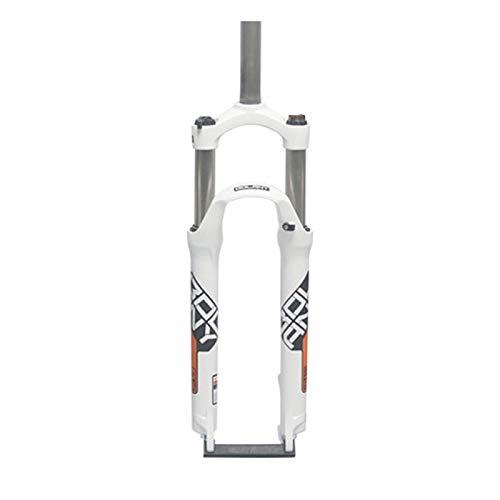 Horquilla Mecánica Amortiguadora 1-1/8',Control de Hombros 26 27,5 29 Horquillas de Aleación Aluminio Horquilla Amortiguación Montaña para Bicicleta (Color : White, Size : 27.5inch)