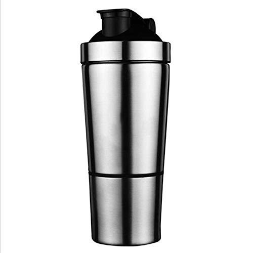wdonddonsh Taza de Viaje de Proteínas Polvo Shaker Botella de Acero Inoxidable Shaker Fitness Deportivo Metal Botella de Agua Termal proteína Copa Blender