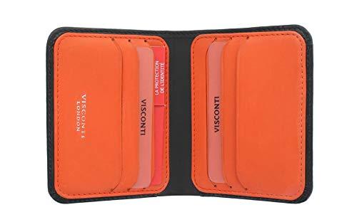 Portafoglio in pelle VSL34 con RFID e Tap and Go della collezione Lank di Visconti Slim Nero/Arancione