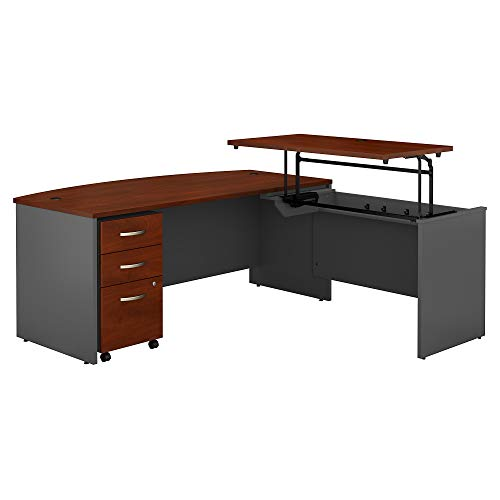 Bush Business Furniture Series C 72W x 36D 3 Position Bow Front Sit to Stand L Shaped Desk with Mobile File Cabinet in Hansen Cherry/Graphite Gray