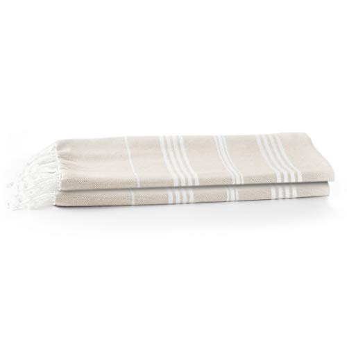 Turkish Style Beach Towel, Fast Dry Cotton Turkish Fouta Towel - Use as Travel Blanket, Chair Throw, Sarong, Camping & Backpacking Towel, Very Long XL Towel (Beige) 37 X 70 Inches