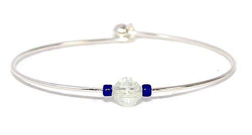 Super popular specialty store New product!! DetectSun Silver Bangle -Navy Bracelet
