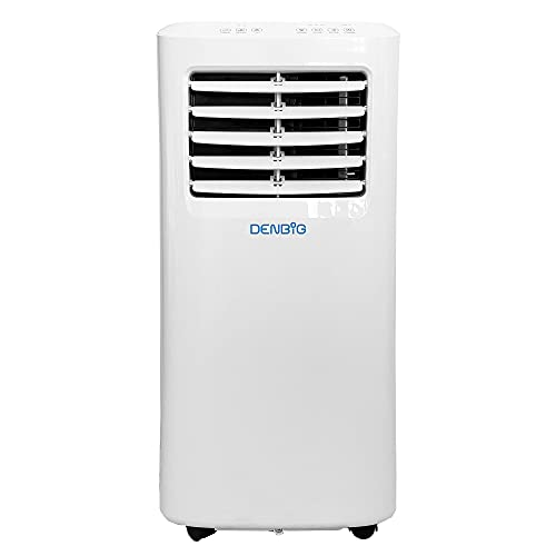 DENBIG Portable Air Conditioner 7,000 BTU 3-in-1 Air Conditioner, Dehumidifier, Cooling Fan with 2 Fan Speeds, Digital Display & Remote Control, and 24 Hour Timer for Rooms Up to 150ft