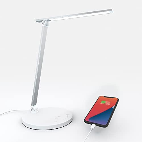 Lámpara de Escritorio LED Lámpara de mesa Recargable con Puerto de Carga Tipo C, 5 Modos de Iluminación 10 Niveles de brillo, Control Sensible, Temporizador Automático de 30 60 min (Plata)