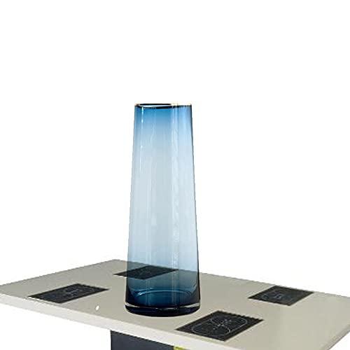 LXLAMP Jarrón De Vidrio Azul De 12 * 9 * 32 Cm Florero, Jarrones Decorativos Vintage Jarrón Cristal Grande Tuba Azul